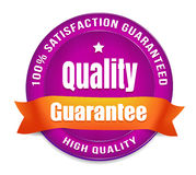 100 Percent Satisfaction Guarantee. Purple high quality guarantee badge. 100 percent satisfaction guarantee Stock Images