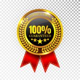 100 percent Satisfaction Guaranteed Golden Medal Label Icon Seal Sign Isolated on White Background. Vector.  Stock Images