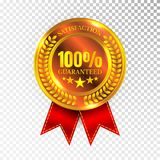 100 percent Satisfaction Guaranteed Golden Medal Label Icon Seal Sign Isolated on White Background. Vector.  Stock Photography