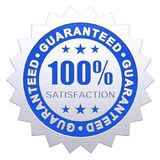 100 Percent Satisfaction Guaranteed. 100% Satisfaction Guaranteed Metallic 3D Rendered in blue and silver effect with clipping path Stock Photo