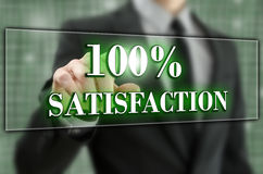 100 percent satisfaction. 100% satisfaction icon on virtual screen Royalty Free Stock Images