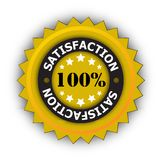 100 percent satisfaction. Illustration of a star shaped 100 percent satisfaction sign with a white background Royalty Free Stock Photography