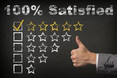 100 percent satisfied - Five Stars Rating with thumb up.  Stock Illustration
