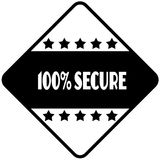 100 PERCENT SECURE on black diamond shaped sticker label. Illustration Royalty Free Stock Images