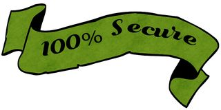100 PERCENT SECURE green ribbon. Illustration graphic concept image Vector Illustration