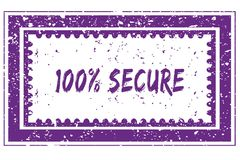 100 PERCENT SECURE in magenta grunge square frame stamp. Illustration image stock illustration