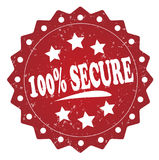 100 percent secure red grunge label, sticker. 100 percent secure red label, sticker  on white background Royalty Free Stock Photo