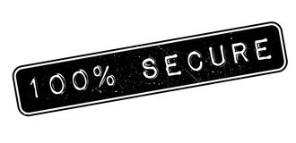 100 percent secure rubber stamp. On white. Print, impress, overprint royalty free illustration