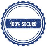 100 PERCENT SECURE stamp. sticker. seal. blue round grunge vintage ribbon sign. Illustration Royalty Free Stock Photography