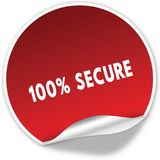 100 PERCENT SECURE text on realistic red sticker on white background. Illustration Stock Photo