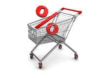 Percent in shopping cart Stock Image