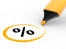 Percent sign. 3d percent sign and a marker. 3d render illustration Royalty Free Stock Photos