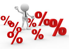 Percent sign. 3d people - man, person with percent sign . %. Concept of discount Stock Images