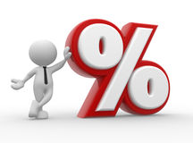 Percent sign. 3d people - man, person with percent sign . %. Concept of discount Stock Image