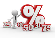 Percent sign. 3d people - man, person with percent sign. %. Concept of discount Royalty Free Stock Photo