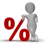 Percent Sign With 3d Man Showing Percentage Or Discount Royalty Free Stock Images