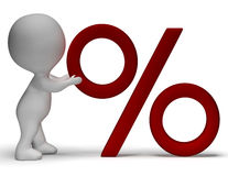Percent Sign With 3d Man Showing Percentage Or Reductions Royalty Free Stock Photos