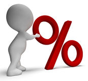 Percent Sign With 3d Man Shows Percentage Or Reductions Stock Image