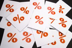 Percent Sign. In red and white paper Royalty Free Stock Photography