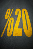 Percent sign on asphalt road sign Royalty Free Stock Photography