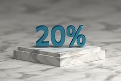Blue metallic shiny 20 percent sign text. Sale 20 % numbers over marble pedestal. 3d illustration royalty free illustration