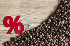 Percent sign of coffee beans on old wooden background. Sign percent coffee and roasted coffee beans on old wooden background Stock Image