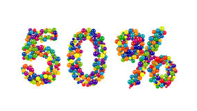 50 percent sign in colorful balls and spheres. In the colors of the spectrum densely packed to form the numbers for a festive event, promotion, business Royalty Free Stock Image