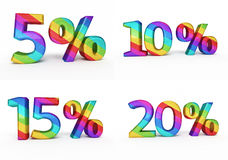 Percent sign colorful. 3d render percent sign colorful  and clipping path Royalty Free Stock Photography