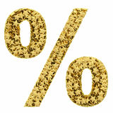 Percent sign composed of golden Royalty Free Stock Photography