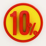 10 Percent Sign. 3d Illustration 10 Percent Discount Sign, Sale Up to 10, 10 Sale, Percentages Special Offer, Save On 10 Icon, 10 Off Tag, 10 Percentage Sign Stock Illustration