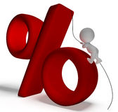 Percent Sign With 3d Man Climbing Showing Percentage Royalty Free Stock Images