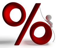 Percent Sign With 3d Man Climbing Shows Percentage Royalty Free Stock Images