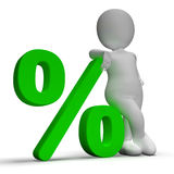 Percent Sign With 3d Man Showing Percentage Or Investment Royalty Free Stock Photo