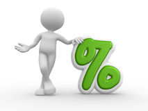 Percent sign. 3d people - man, person with a percent sign Royalty Free Stock Image