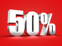 50 percent sign. 3D Rendering of a fifty percent symbol Royalty Free Stock Image
