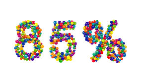 85 percent sign in decorative vivid colored balls Royalty Free Stock Images