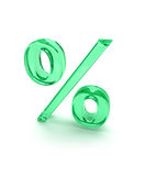 Percent sign 3d. Percent icon, green glass on white background Royalty Free Stock Photography