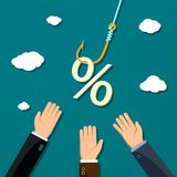 Percent sign hanging on a fishing hook. Discount and sale. Dividends and financial profit. Stock  illustration Royalty Free Stock Photo
