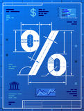 Percent sign like blueprint drawing. Stylized drafting of percentage symbol on blueprint paper. Qualitative vector (EPS-10) illustration for banking, financial Stock Photography
