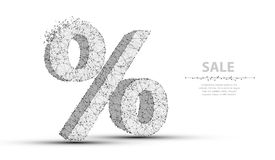 Percent sign. Low poly wireframe mesh. Concept illustration or background vector illustration