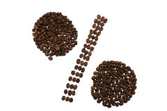 Percent sign made of coffee beans isolated on white background Royalty Free Stock Photography