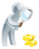 Percent sign magnifying glass person. Man looking down at a percent sign with a magnifying glass Stock Photography