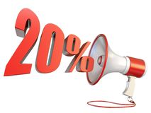 20 percent sign and megaphone 3D. Rendering illustration isolated on white background stock illustration