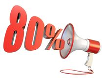 80 percent sign and megaphone 3D. Rendering illustration isolated on white background royalty free illustration