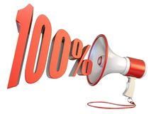 100 percent sign and megaphone 3D. Rendering illustration isolated on white background vector illustration