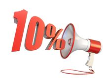 10 percent sign and megaphone 3D. Rendering illustration isolated on white background royalty free illustration