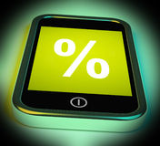 Percent Sign On Mobile Shows Percentage Discount Or Investment Stock Images