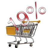 19 percent sign over shopping trolley Royalty Free Stock Photography