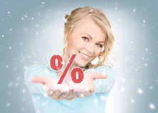 Percent sign on the palms Stock Photos