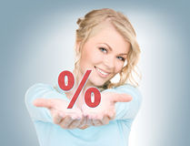 Percent sign on the palms Stock Photography